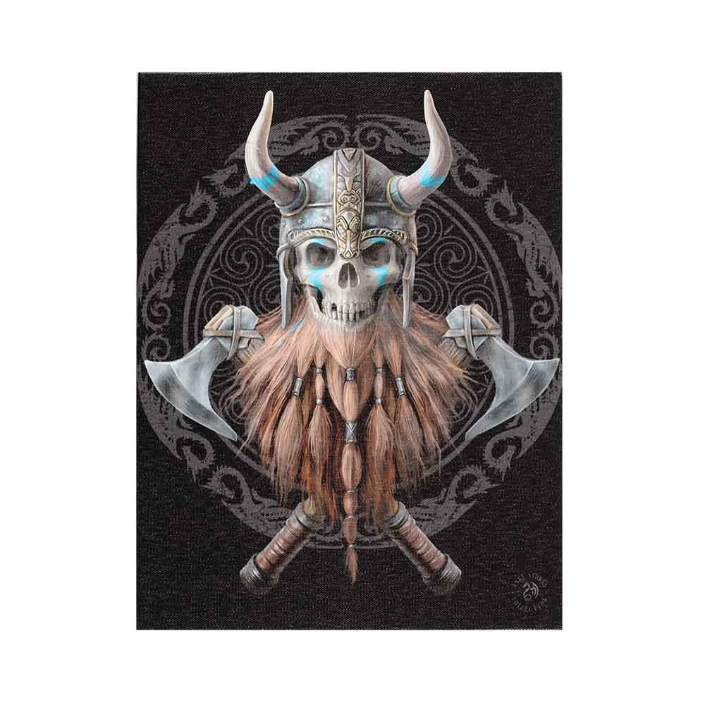 19x25cm Viking Skull Canvas Plaque by Anne Stokes